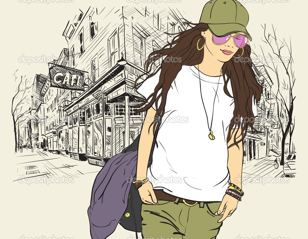 Free Download Fashion Girl In Sketch Style On A Street Cafe
