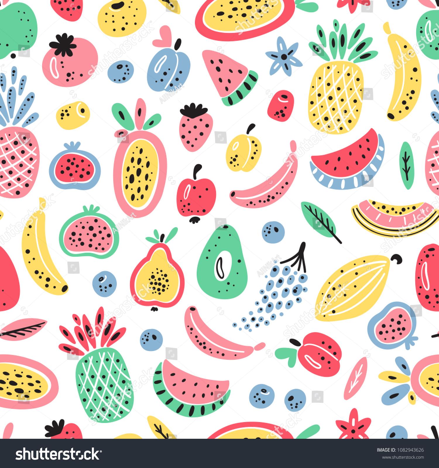 Cartoon Fruits Berries Vector Seamless Pattern Stock Vector 1500x1600