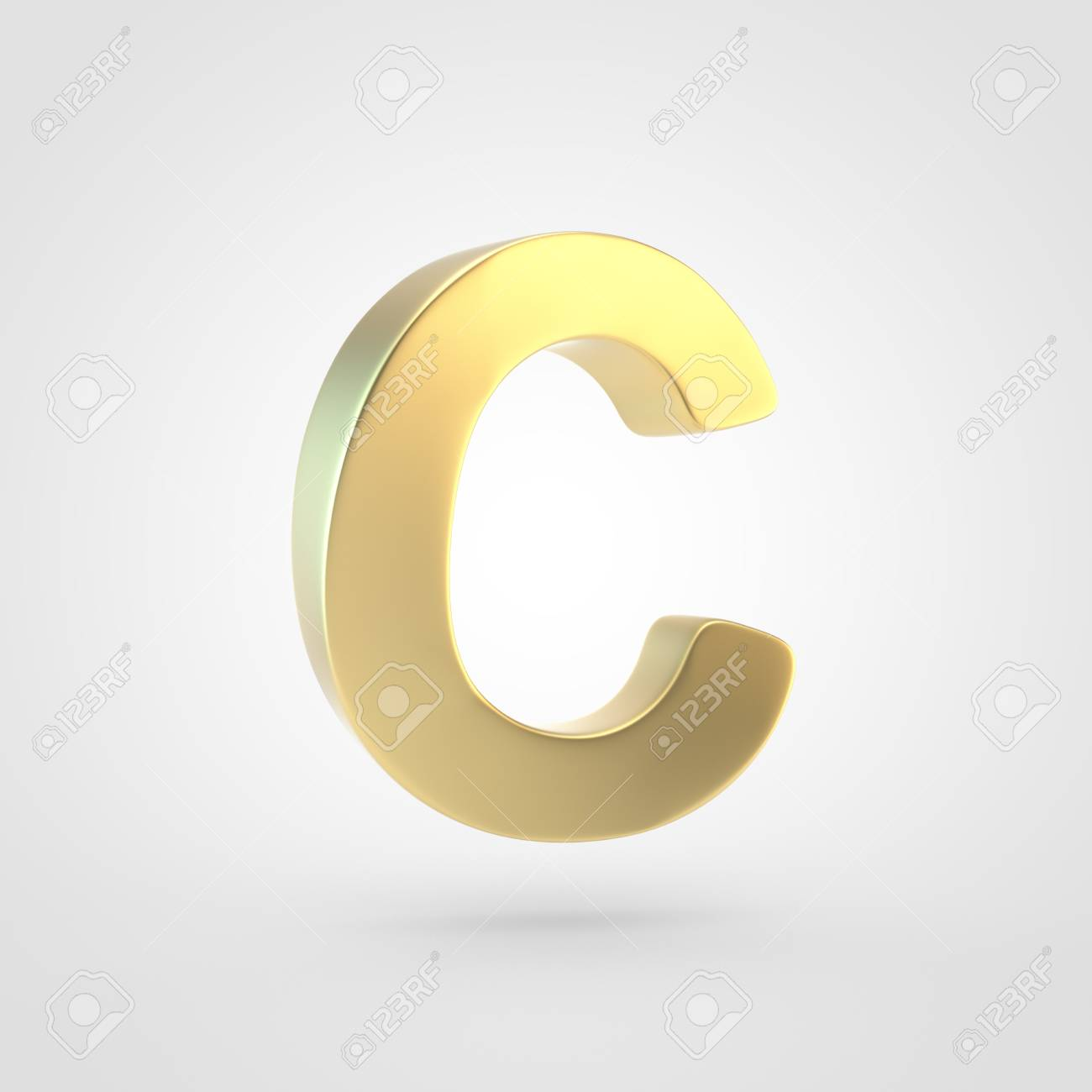 Golden Letter C Uppercase 3D Rendering Of Matted Golden Font 1300x1300