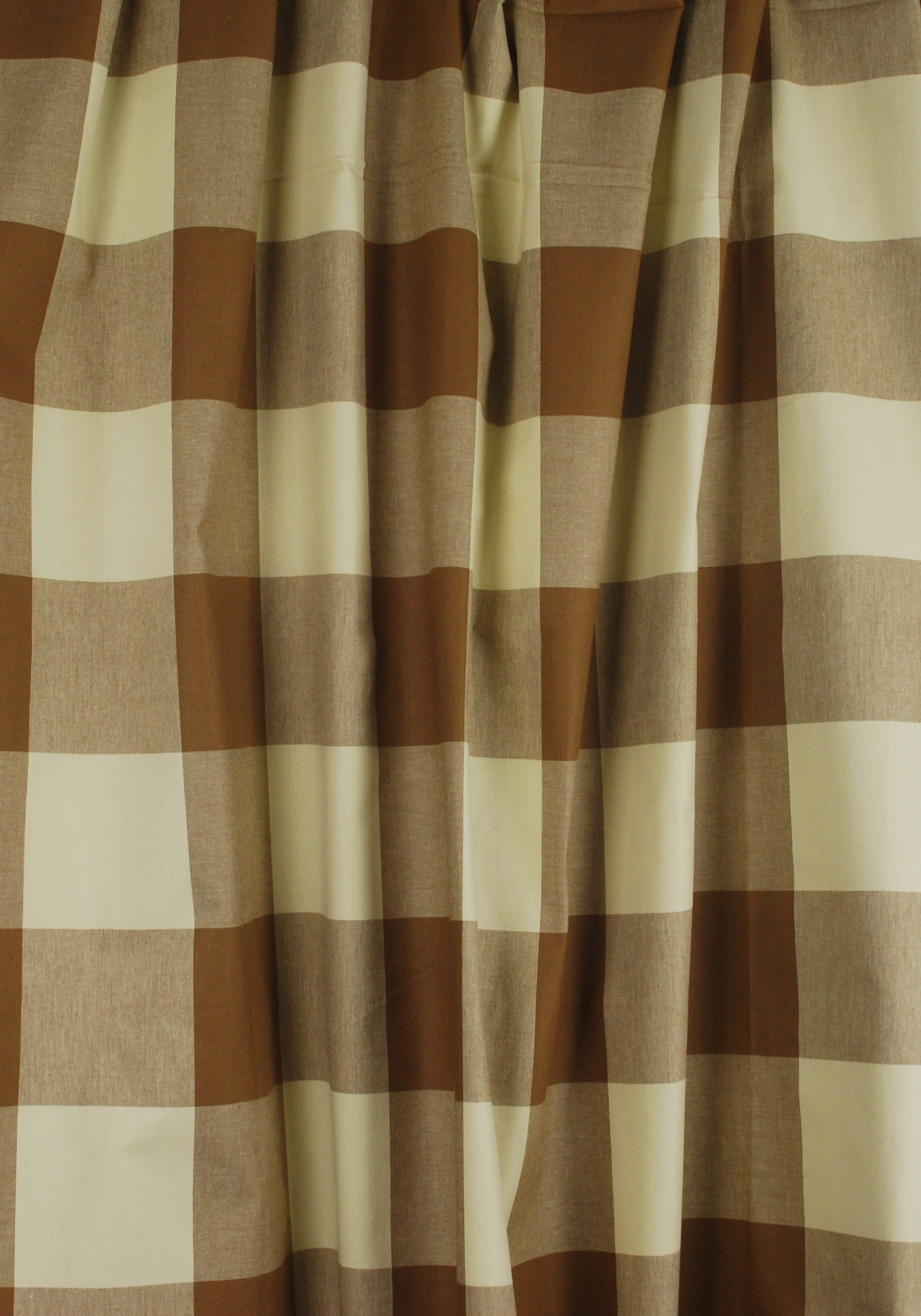 Brown Cream Buffalo Check Drapery Fabric Poseidon Acorn Fabricut 1738x2483