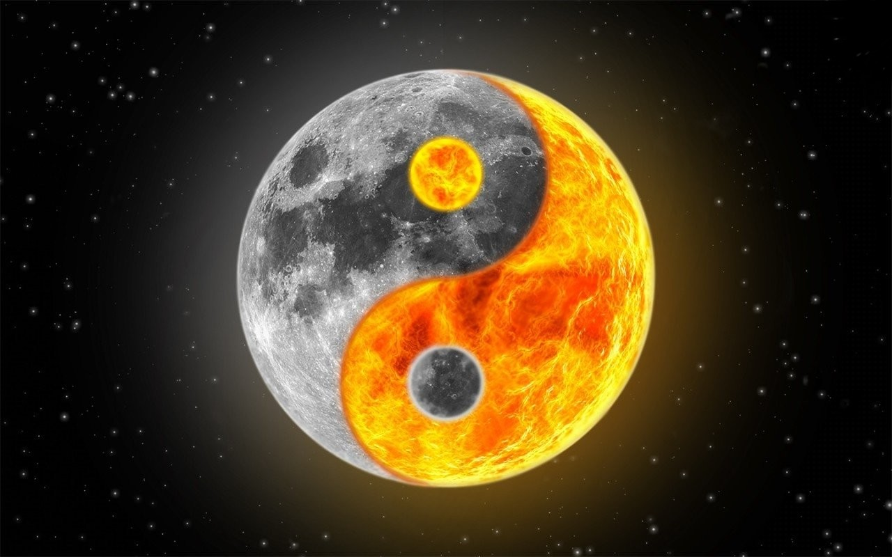 Free Download Sun Moon Ying Yang 1280x800 For Your Desktop
