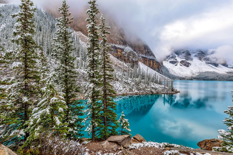 129470 Banff National Park Winter Alberta Canada Moraine 3000x2000
