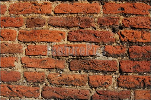Picture of Detail of a 16th century brick wall built as part of a half 500x332