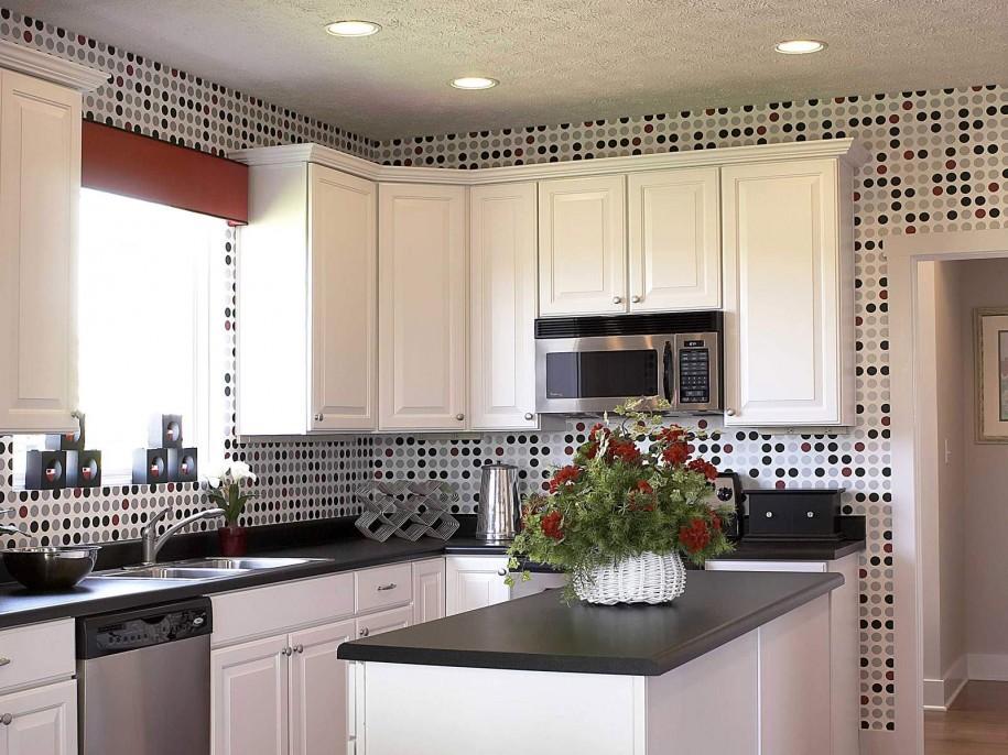 Kitchen Polka Dot Wallpaper Hidden Lamp Grey Ceiling White Cabinets 915x686