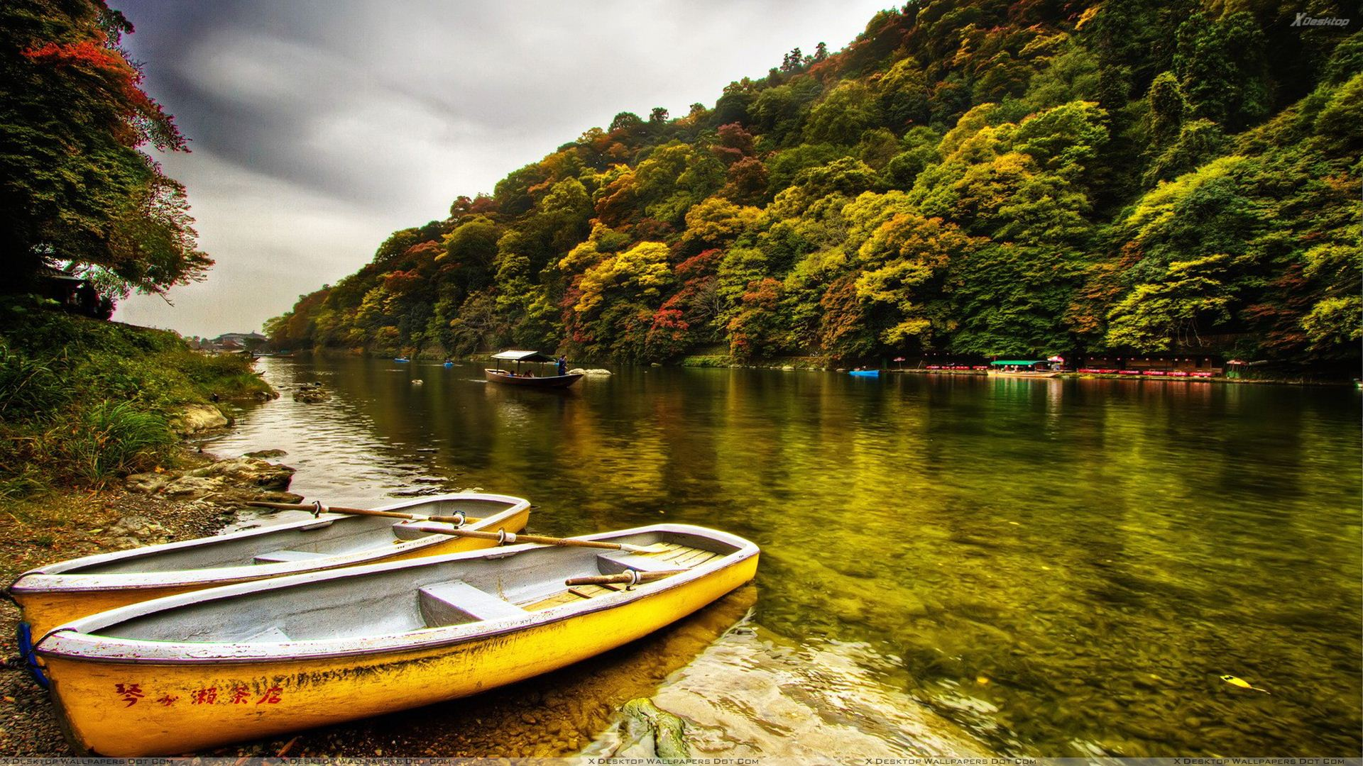 Yellow Boats Side Of The River Wallpaper 1920x1080