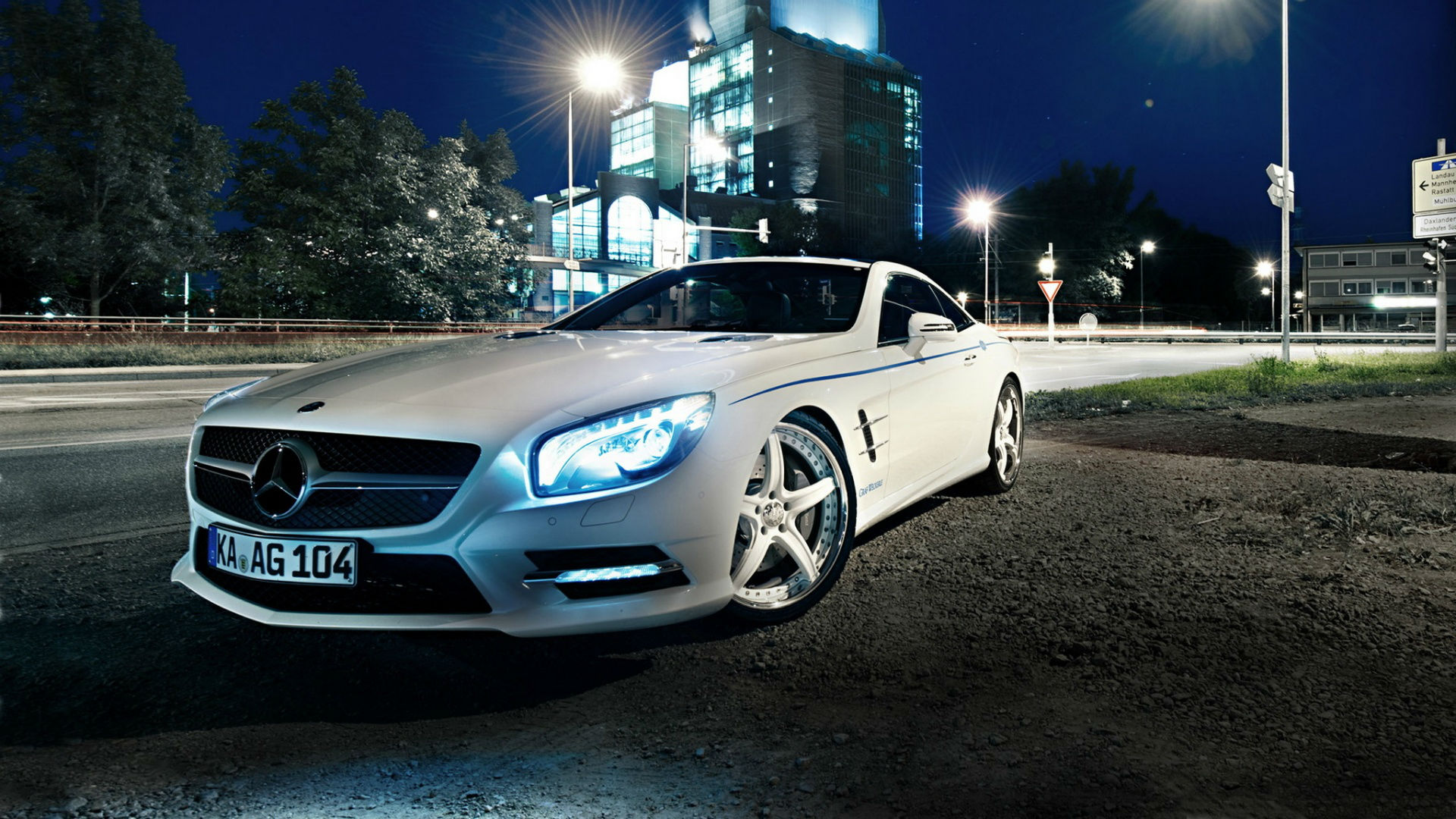 mercedes benz sl500 night wallpaper 1920x1080 1920x1080