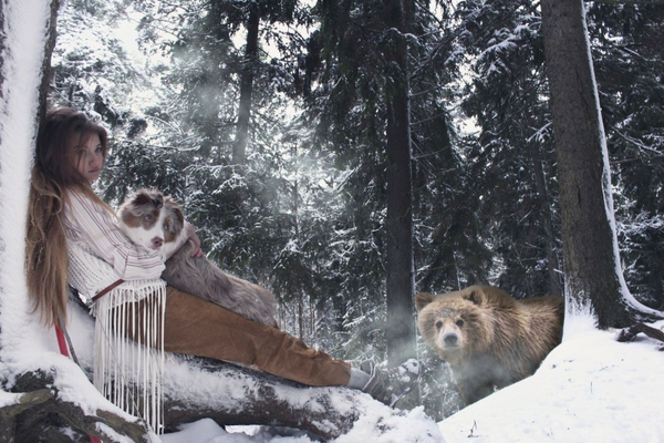 light women winter forests dogs bears Wallpaper
