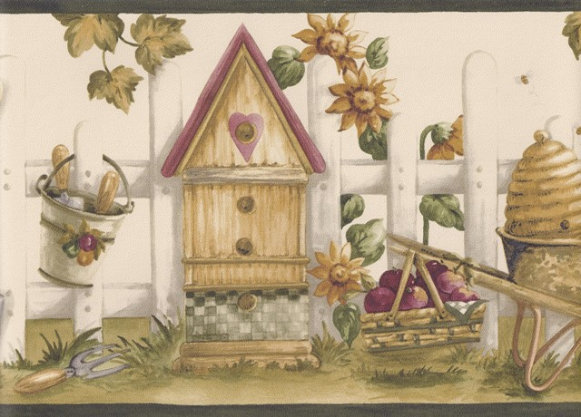 Black Cream Bird House Garden Wallpaper Border   Kitchen Bathroom 640x460