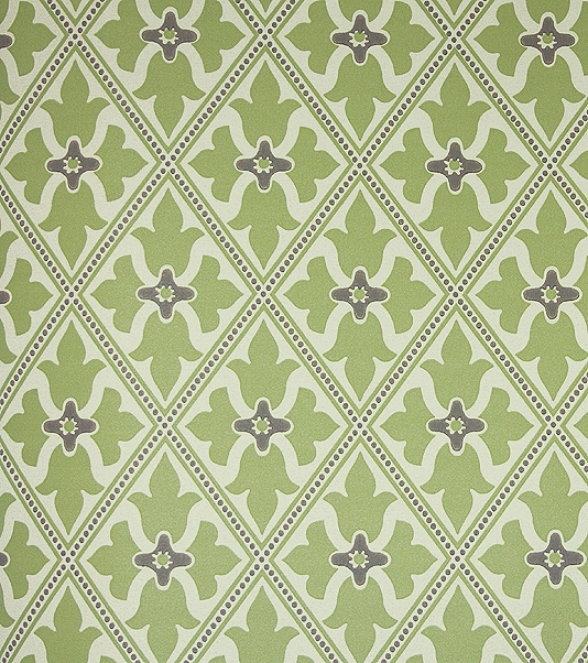 Bayham Abbey Wallpaper Green and beige wallpaper with trellis design 534x602