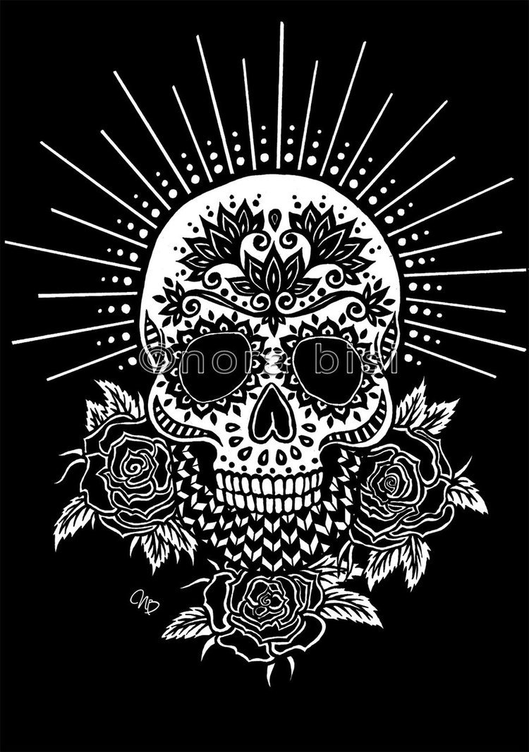 This is a graphic of Satisfactory Black And White Sugar Skull Drawing