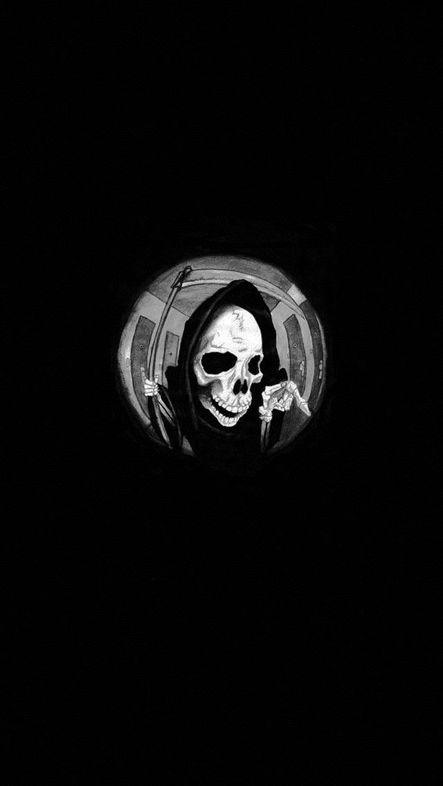 grim reaper in a spyhole iphone wallpaper tags bone dark death grim 640x1136