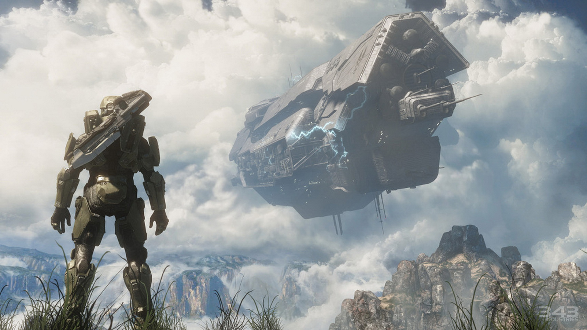 Halo 4   Master Chief Spartan   UNSC ship crashing 1920x1080