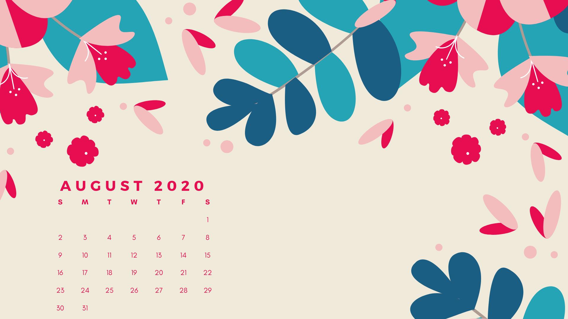 August 2020 Desktop Calendar Calendar wallpaper Desktop 1920x1080