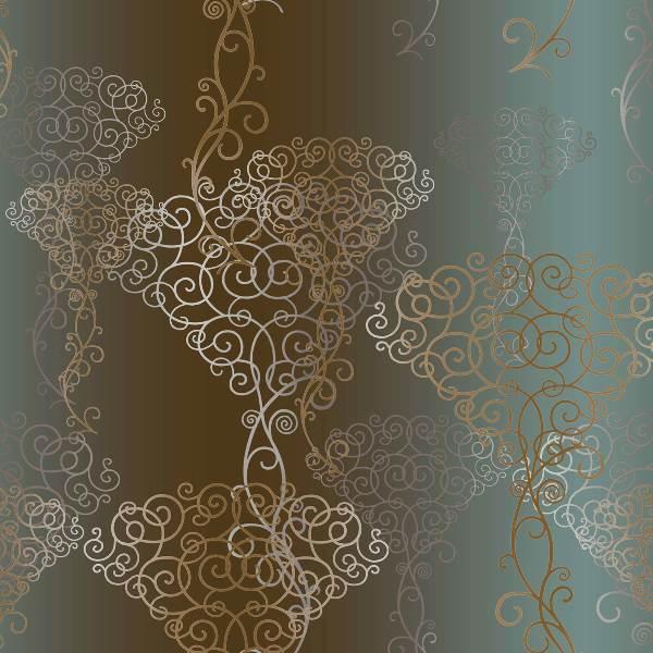 Brown Green Bouquet VSN211025 Damask Wallpaper   Contemporary 600x600