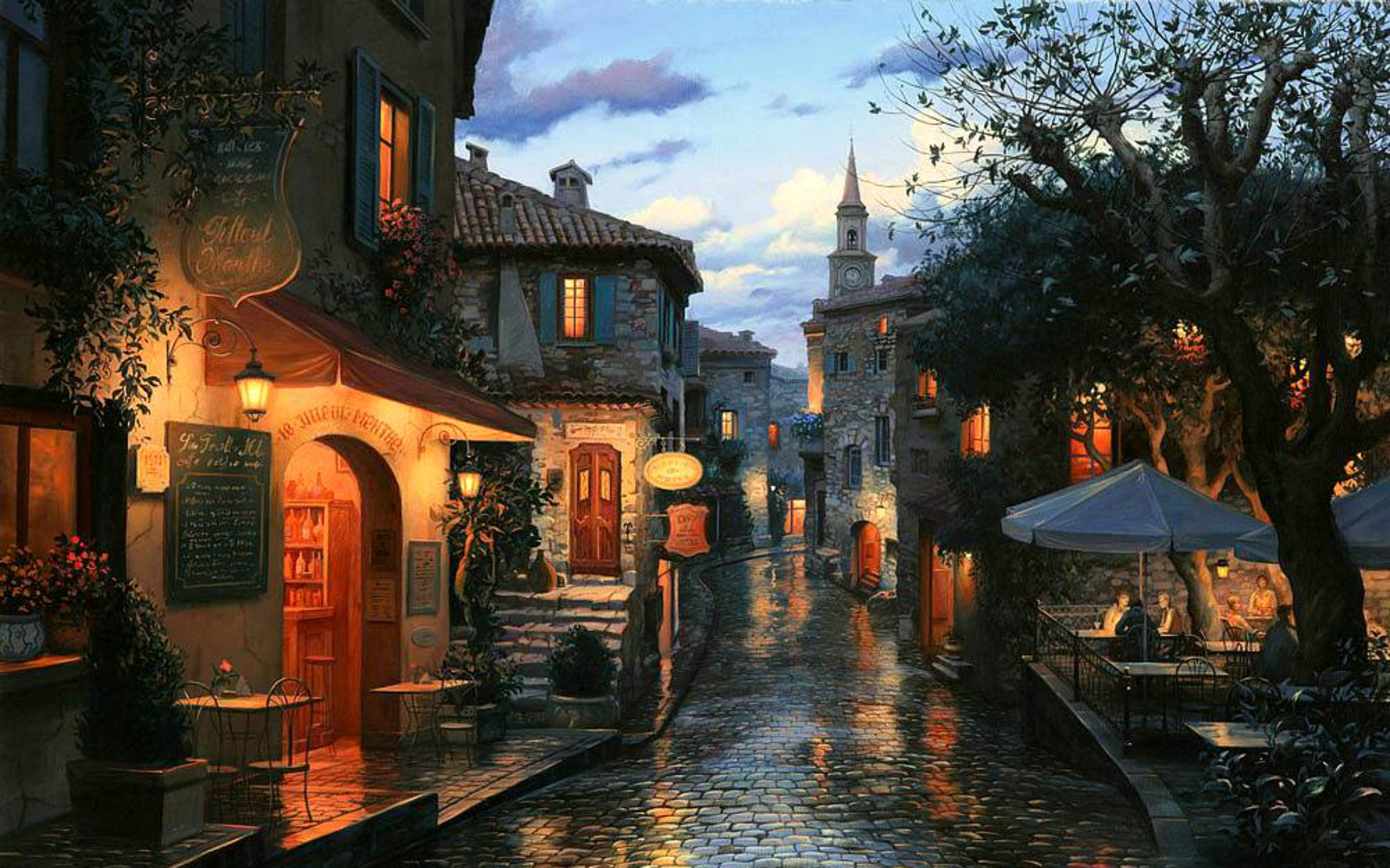 eugeny lushpin painting street cafe bar tables umbrellas houses 2560x1600