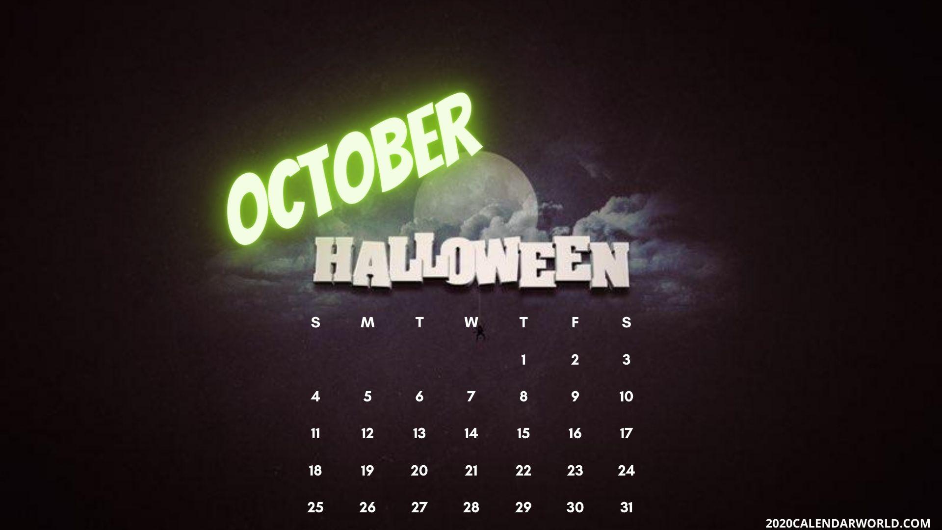 Halloween October 2020 month calendar desktop wallpaper in 2020 1920x1080