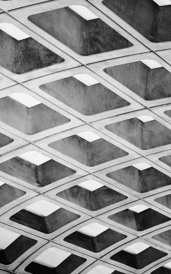 Brutalist Metro Station DC Mural Wallpaper Grey Wallpaper 600x960