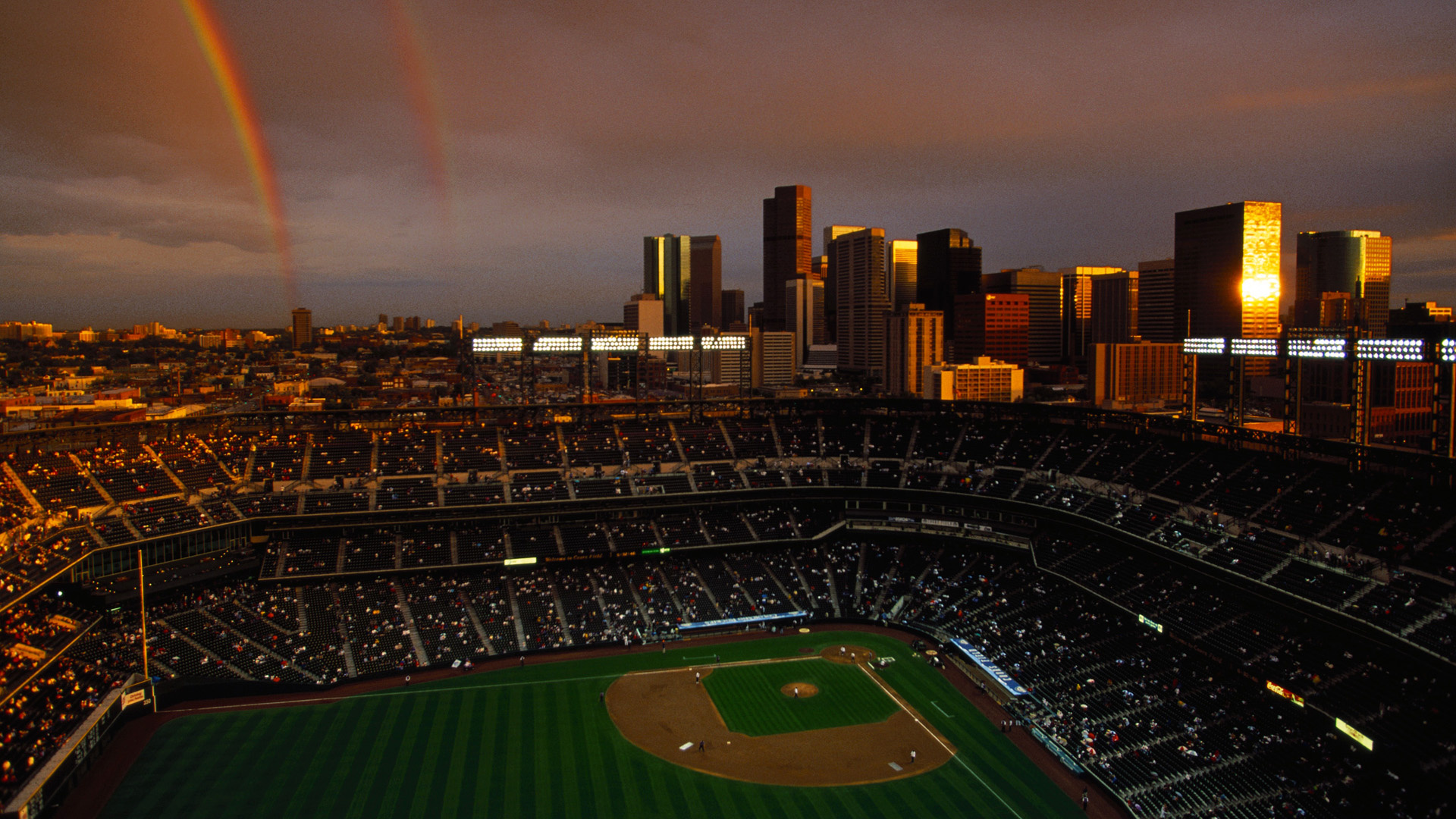 Wallpaper rainbow baseball stadium denver coors field colorado 1920x1080