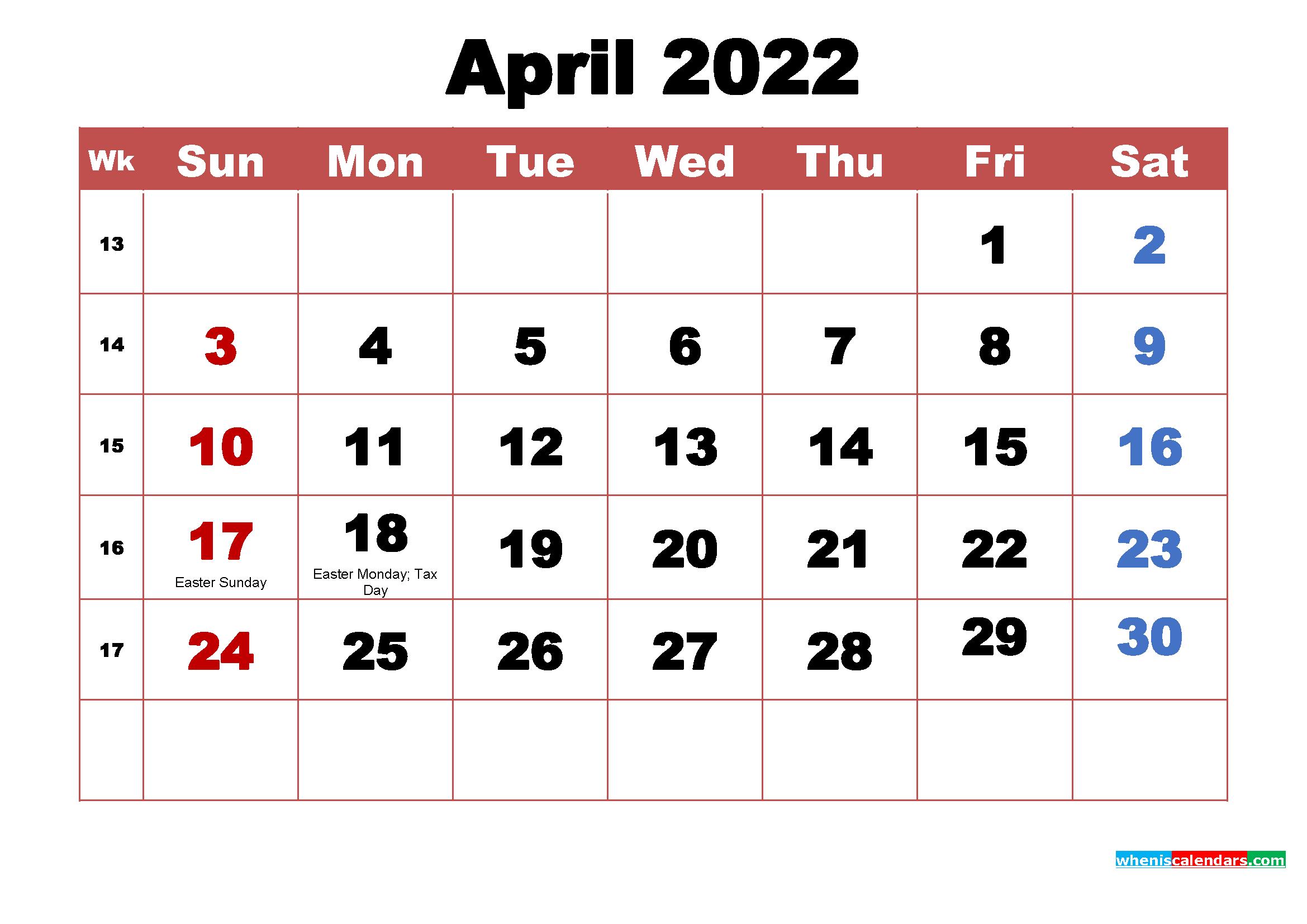 April 2022 Calendar Wallpaper High Resolution 2339x1654