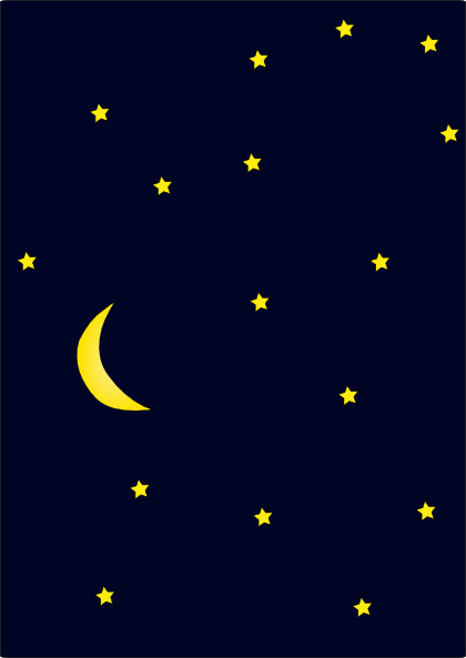 Moon in dark night sky full of starssvghipng 420x593