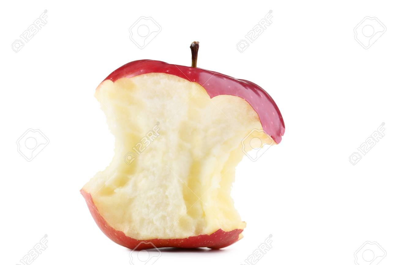 Red Apple Stub Isolated On White Background Stock Photo Picture 1300x866