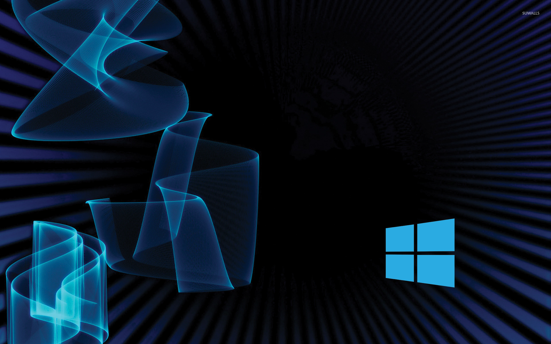 Windows 10 simple blue logo on blue rays and waves wallpaper 1680x1050
