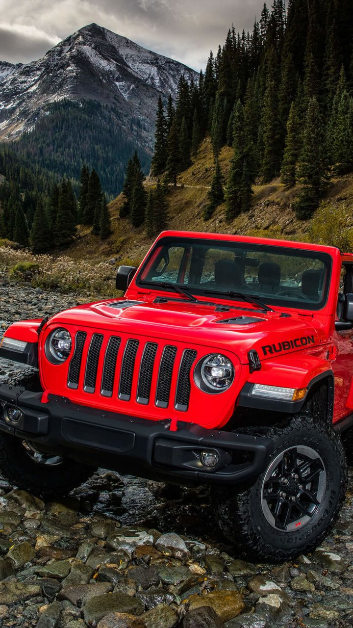 Red utility vehicle Jeep Wrangler outdoor 720x1280 wallpaper 720x1280