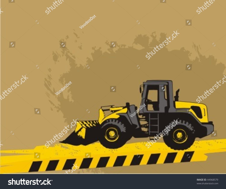 Wheel Loader Bulldozer On Grunge Construction Stock Vector 1500x1258