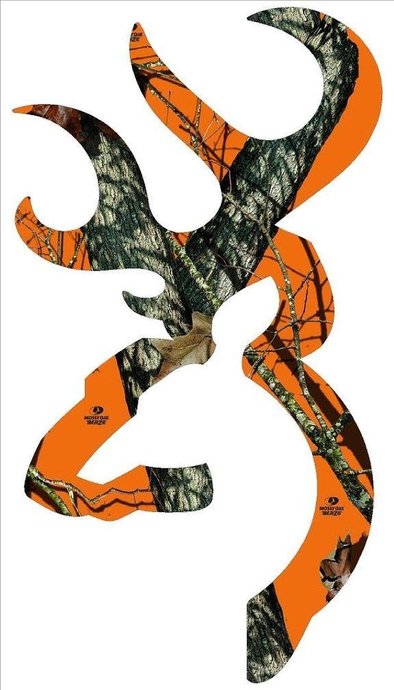 Browning Style Buck Realtree Orange Camo Camouflage Hunting Sticker 571x1000