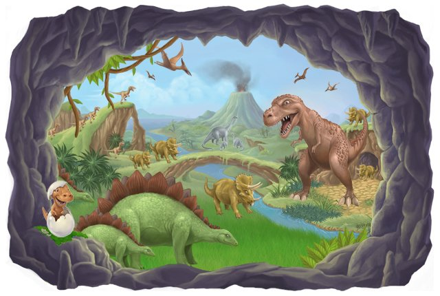 Dinosaur wallpaper for kids room wallpapersafari for Dinosaur pictures for kids room