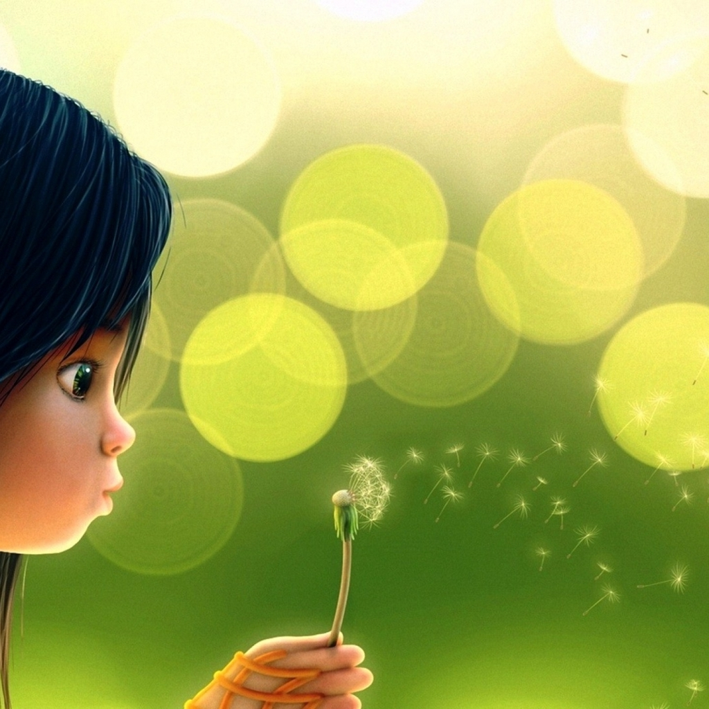 Cute cartoon girl blowing dandelion wallpaper 1024x1024