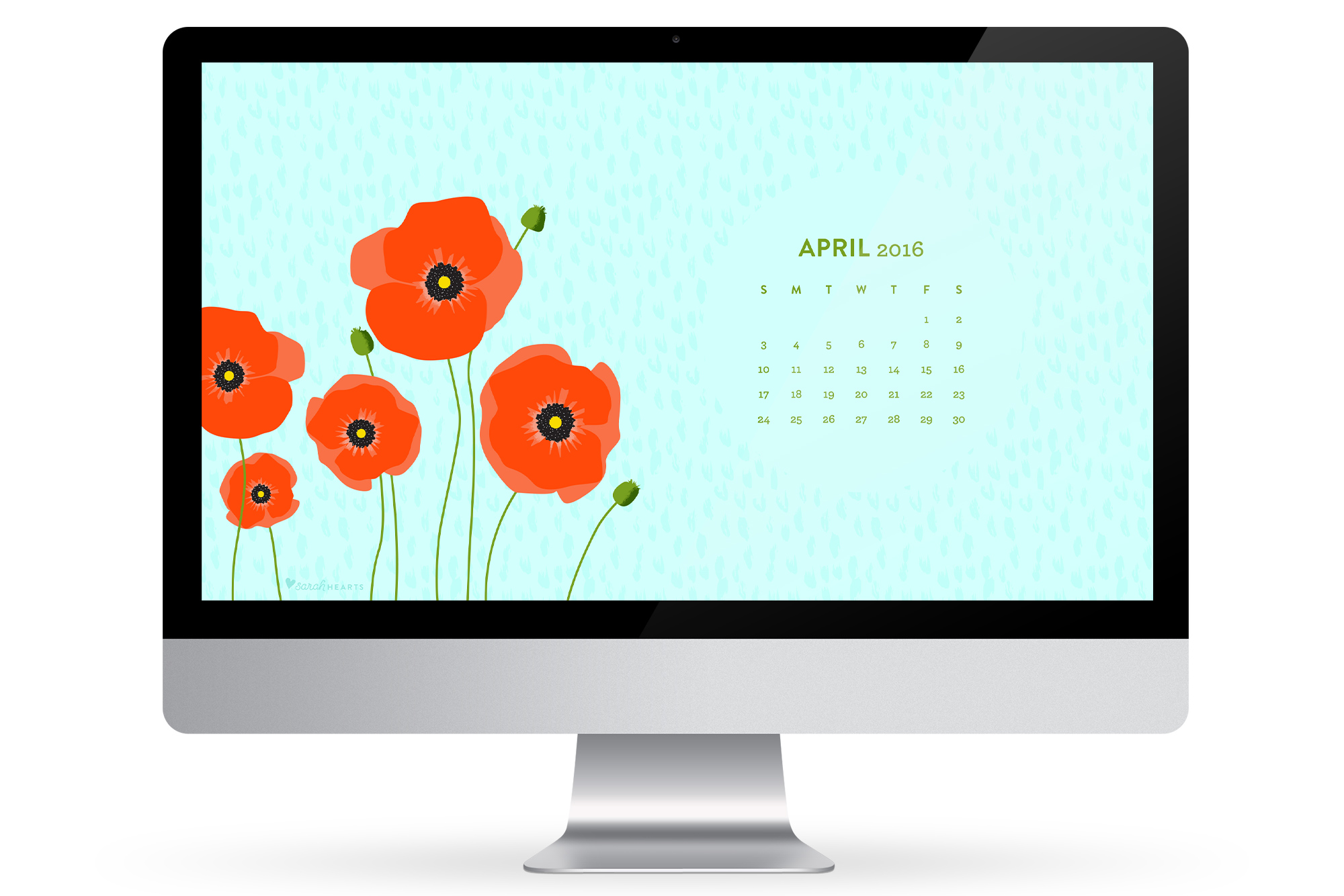 computer phone or tablet with this April 2016 calendar wallpaper 2000x1334
