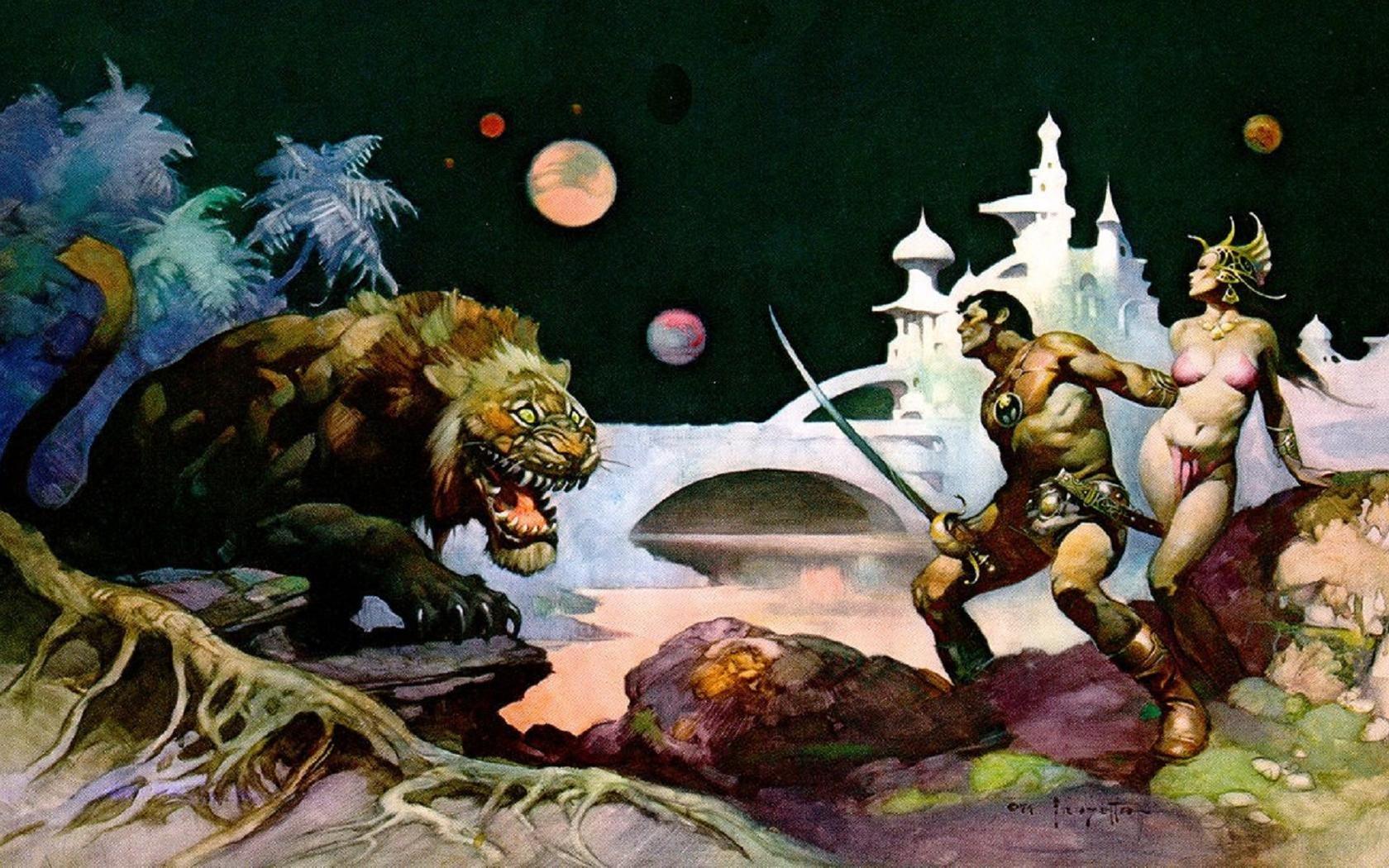 Mars Cat by Frank Frazetta 1680x1050 wallpaper 1680x1050