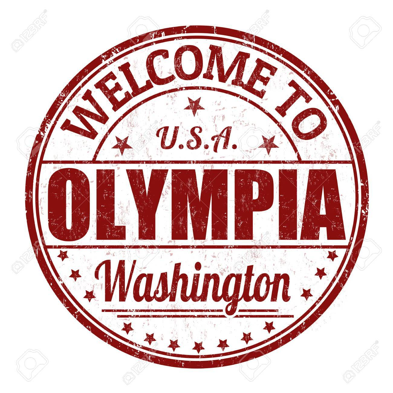 Welcome To Olympia Grunge Rubber Stamp On White Background Royalty 1300x1300