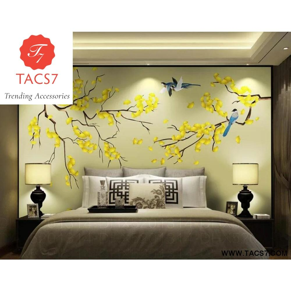Chinese hand painted modern flowers birds magnolia flower 1000x1000