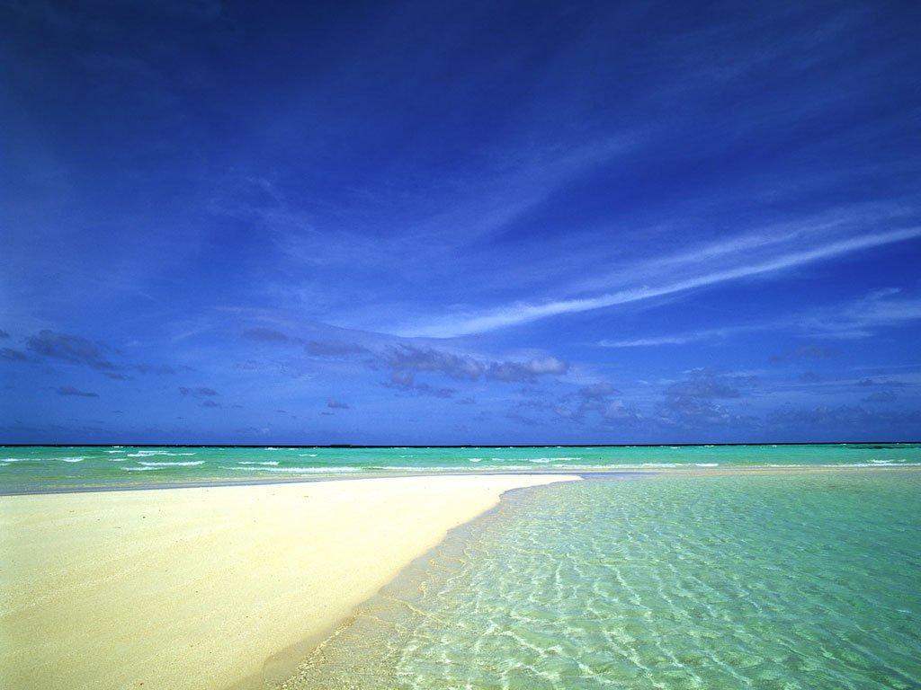 Island beach South Pacific computer desktop wallpaper 1024x768