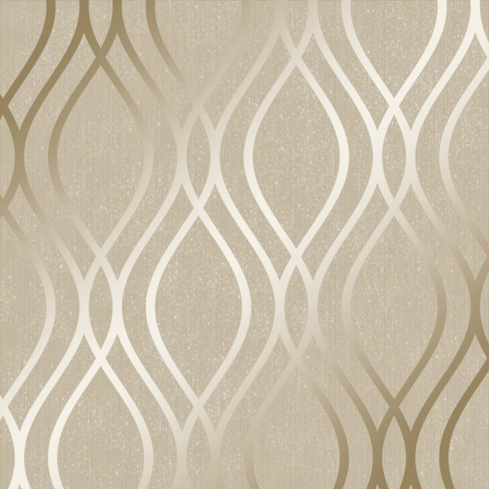 Henderson Interiors Camden Wave Wallpaper Cream Gold   Wallpaper 1000x1000