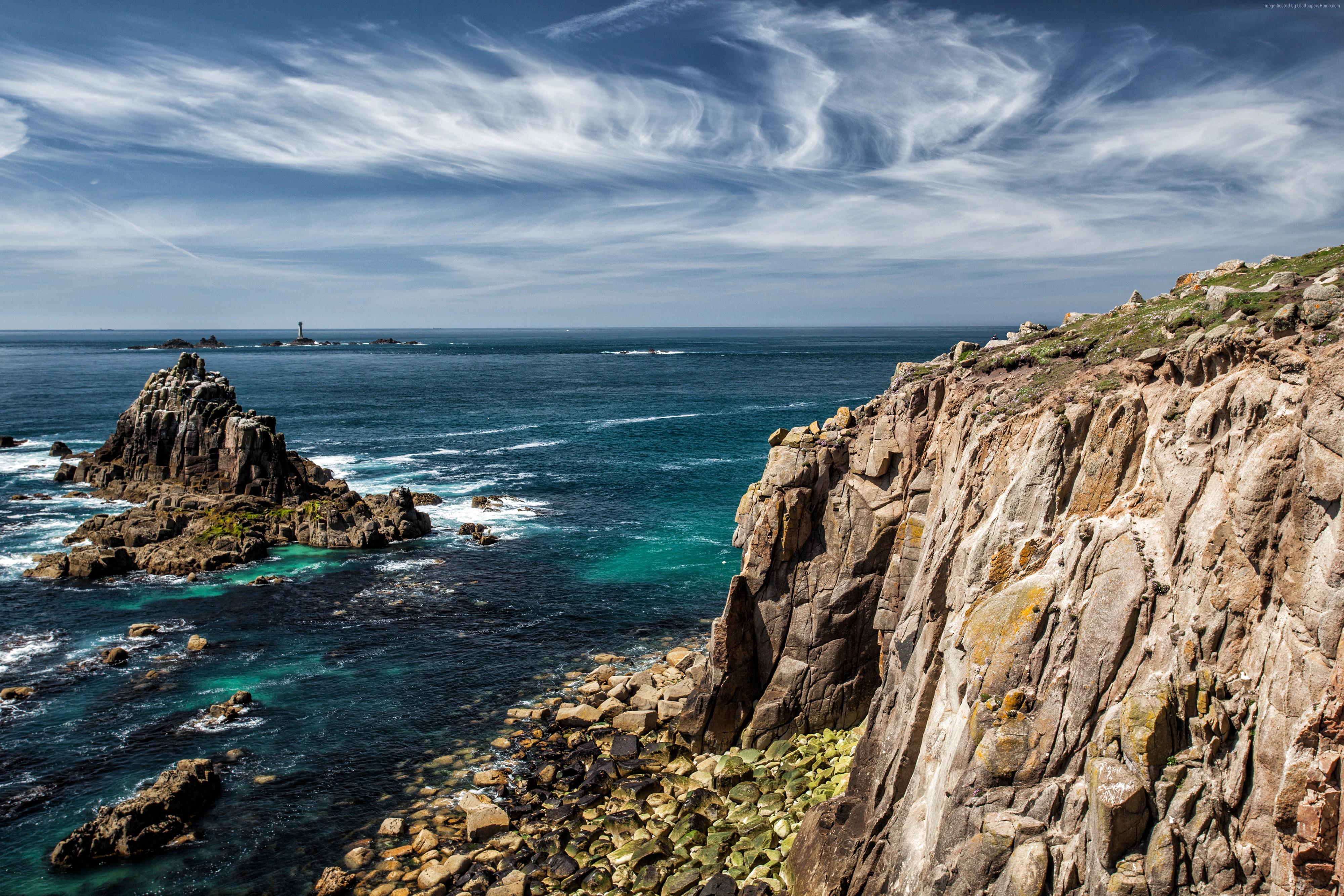 113091 Atlantic ocean sky rocks 4k wallpaper England 5k 4000x2667