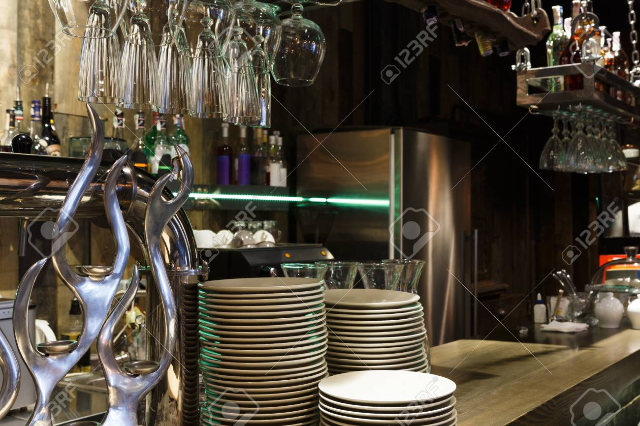 Bar Counter With Clean Dishes Close Up Barroom In Restaurant 1300x866