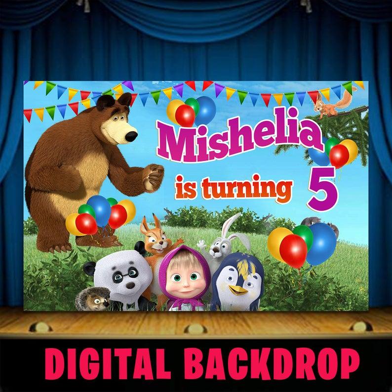 Free Download Masha And The Bear Birthday Backdrop Masha And