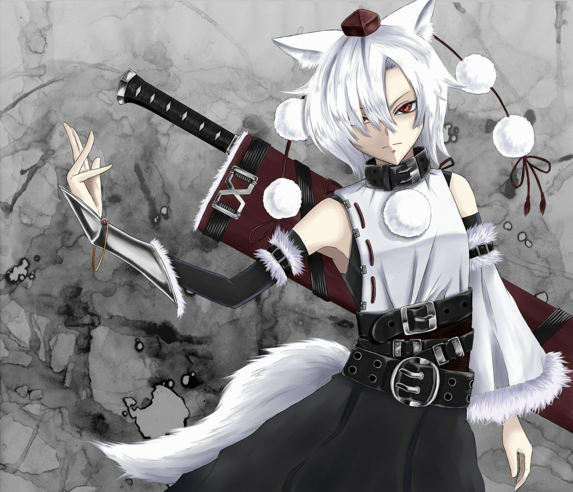 Fashion week Haired white anime boy with sword for woman