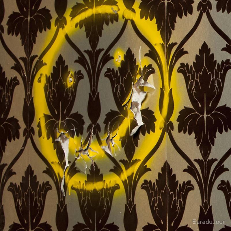 Sherlock Smiley Face Damask Wallpaper Throw Pillows by SaraduJour 800x800