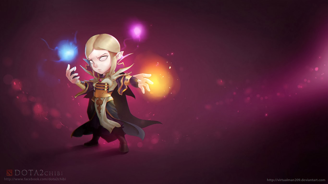 Hd wallpaper dota 2 - Invoker Chibi Dota 2 Hd Wallpaper 1366x768 13