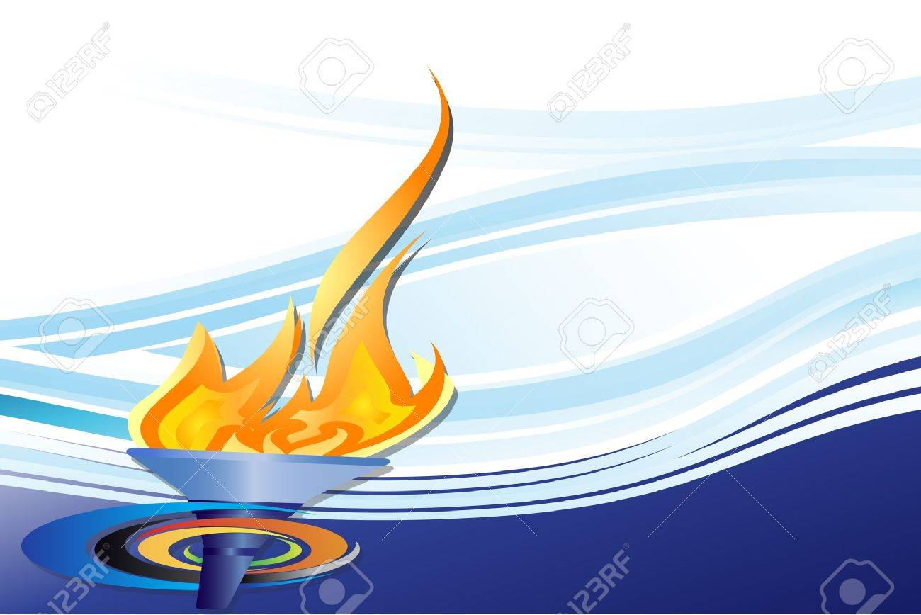 Sports Competition Torch On Blue Background Royalty Cliparts 1300x868