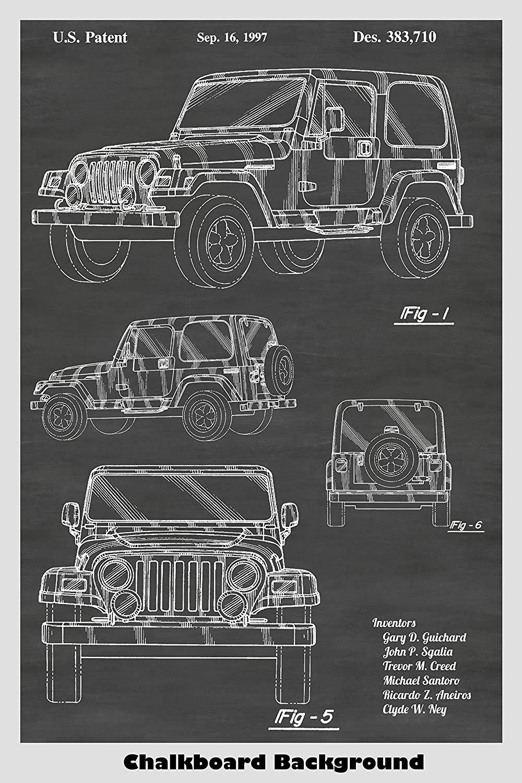 Amazoncom Jeep Wrangler Patent Print Art Poster Choose From 1000x1500