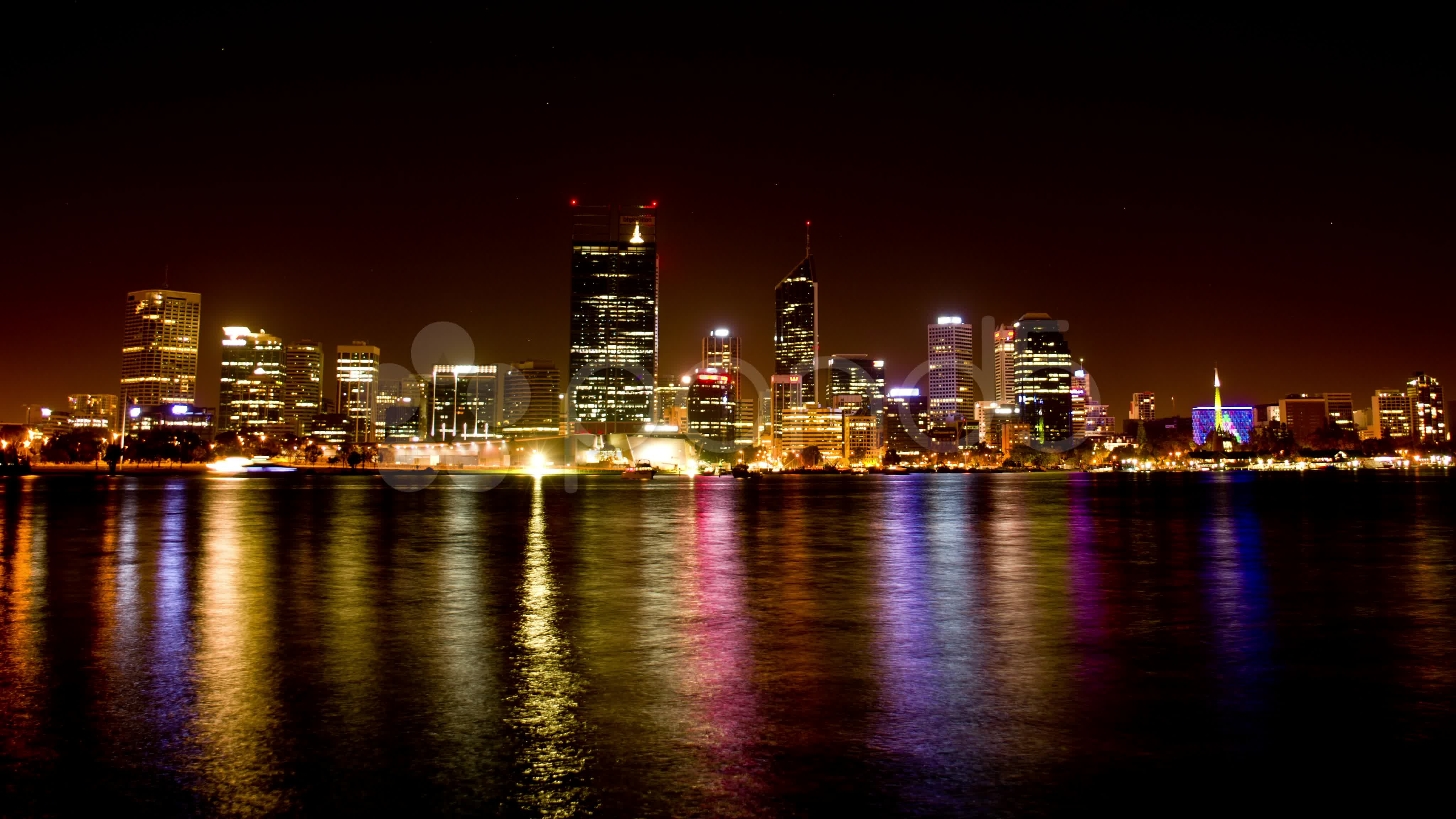 Perth City Night Lights Time Lapse   Perth Stock Footage 4096x2304