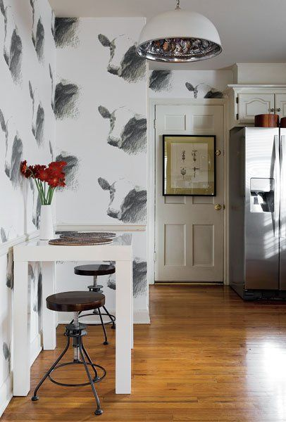 Cow Wallpaper In The Kitchen Love Kitchens Pinterest 406x600
