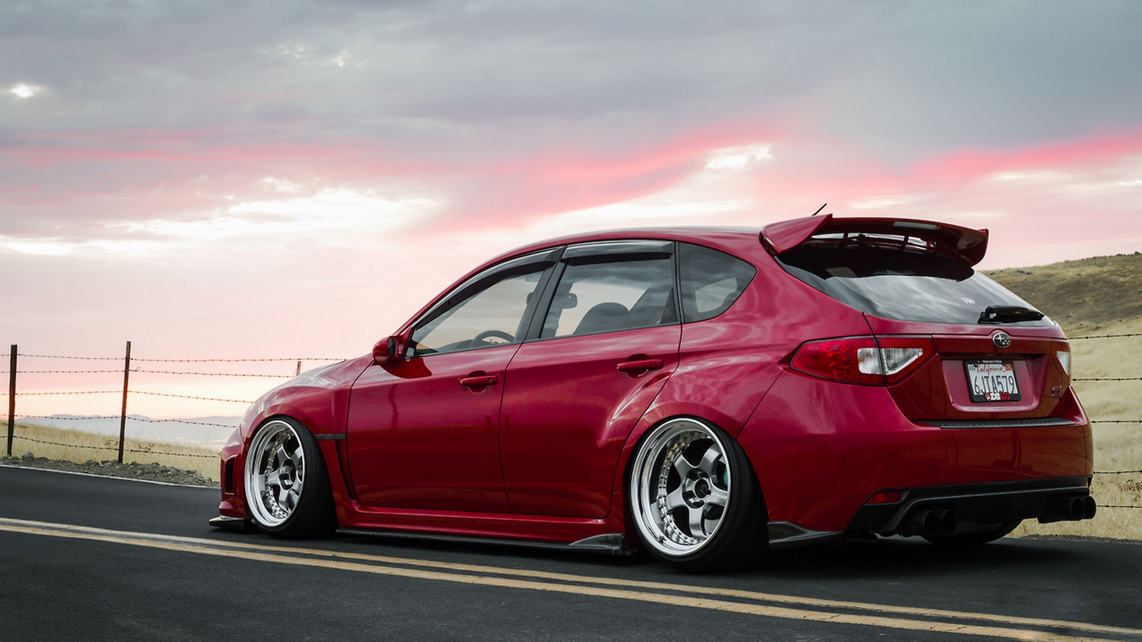 Subaru Impreza Wrx Sti Tuning Jdm Red Wallpaper Background 4K 3840x2160
