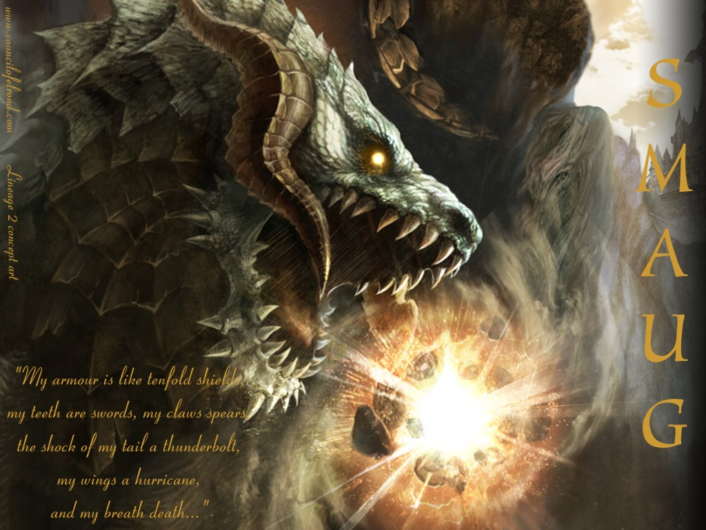 description a powerful smaug the golden wallpaper using concept art 1024x768
