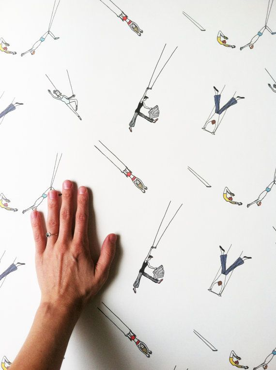 Removable Wallpaper Trapeze Act Print Perfect for renters and D 570x763